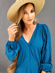 Surplice Long Sleeve Woven Top (S-2XL)