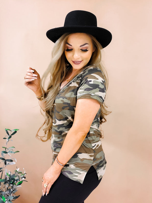 Casual Camo Print T-Shirt Top (S-3XL)