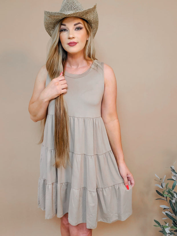 Solid Sleeveless Round Neck Dress Featuring Ruffle Tiered Detail (S-2XL)