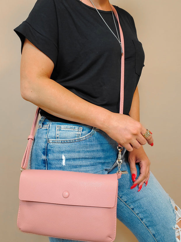 Faux Pebble leather Flap Crossbody Bag