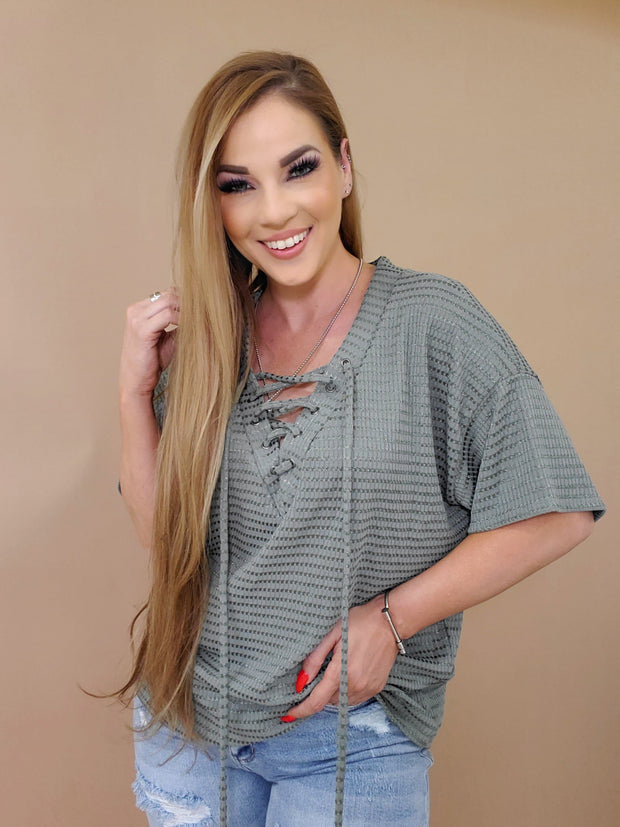 Lace-Up Front Sheer Top