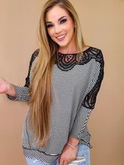 Long Sleeve Stripe Print Knit Top With Lace Trim (S-3XL)