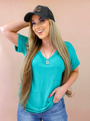 DOORBUSTER Boyfriend V-Neck Top with Pocket (S-3XL)