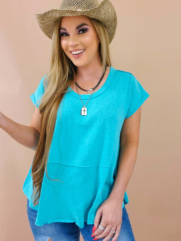 Rolled Cap Sleeves Scoop Neck Top
