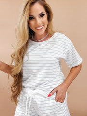 Soft French Terry Fabric Crew Neck Short Sleeve Top and Short Pants Set