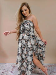 Printed fabric Tube Tulip Maxi Dress