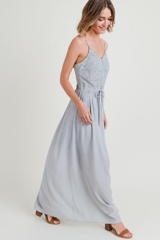 V-Neck Crochet Top Maxi Dress