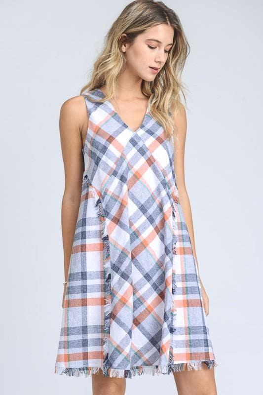 Weave Plaid Tank Trapeze Dress with Fringe