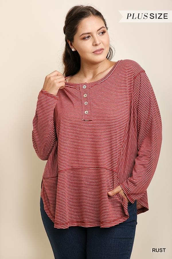 Plus Size Striped Scoop Neck Henley Top with a Tulip Hem