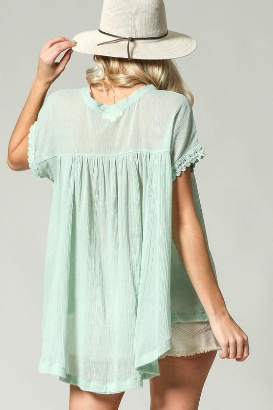Semi Sheer Babydoll Blouse