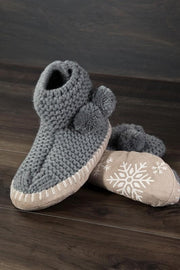 Snowflake Slipper Boot with Pom Pom
