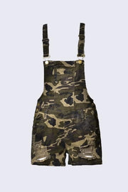 Distressed Camo Short Overalls