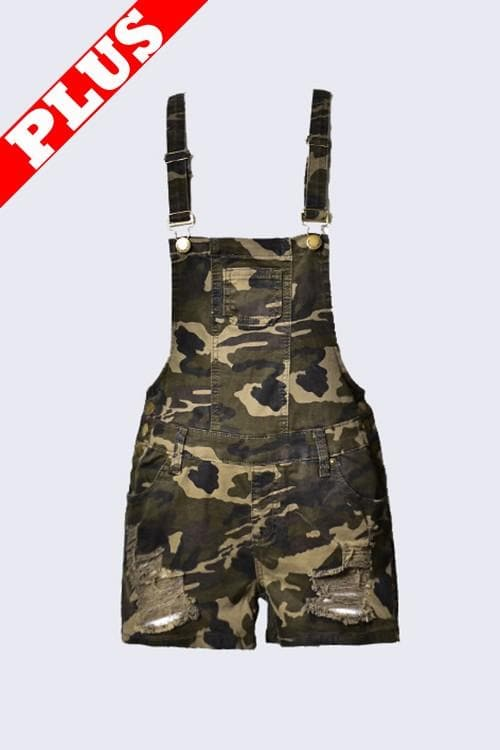 Plus Size Camo Short Overalls