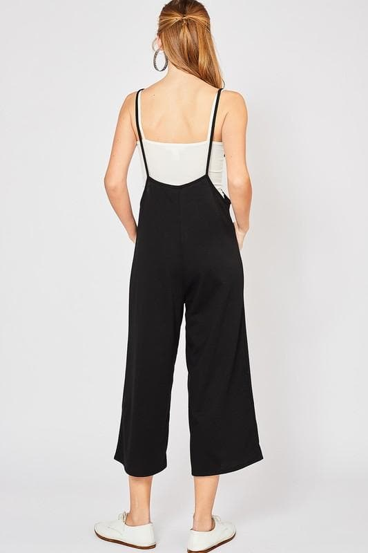 Solid Suspender Jumpsuit Featuring Wide Leg Detail