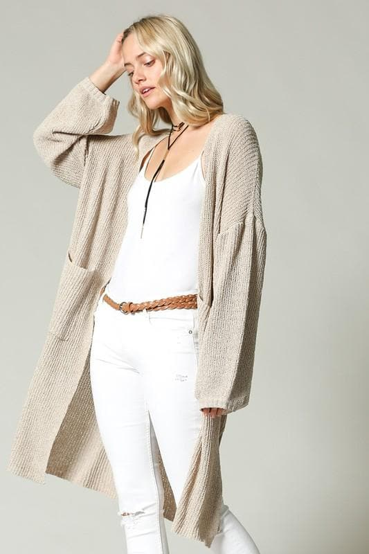 Oversized Knit Open Front Cardigan