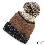 Three Tone Confetti Yarn Pom Beanie