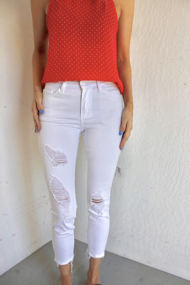 Judy Blue Distressed White Skinny Jeans - Mid Rise