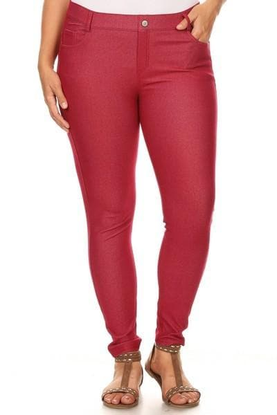 Plus Size Cotton Blend  Five Pockets Skinny Jeggings