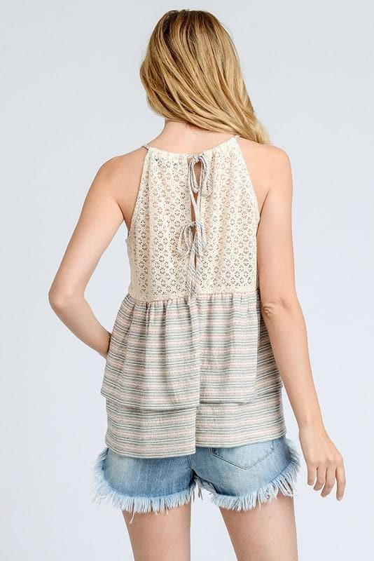 Stripes Ruffled Cami Tank Top with Sheer Crochet Back