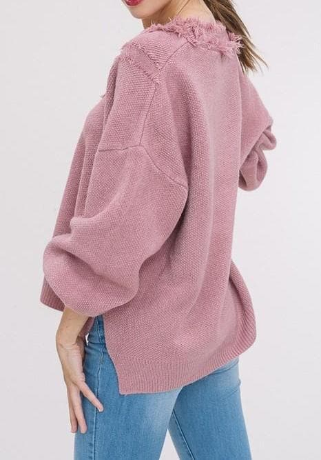 Fringe-y Friday V-Neck Pullover Sweater