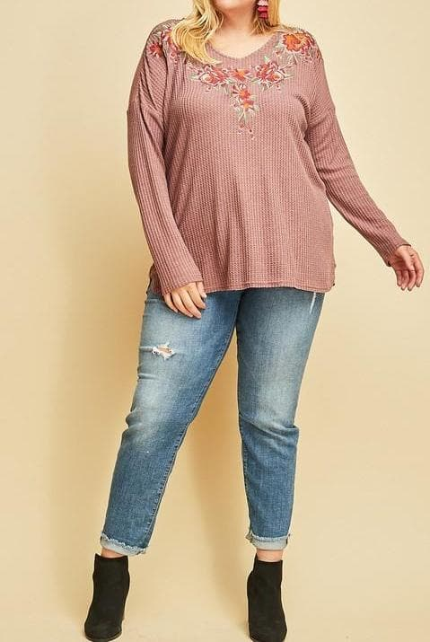 Plus Size Rose Embroidered V-Neck Top