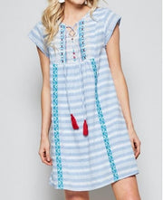 Babydoll Stripe Dress with Embroidery