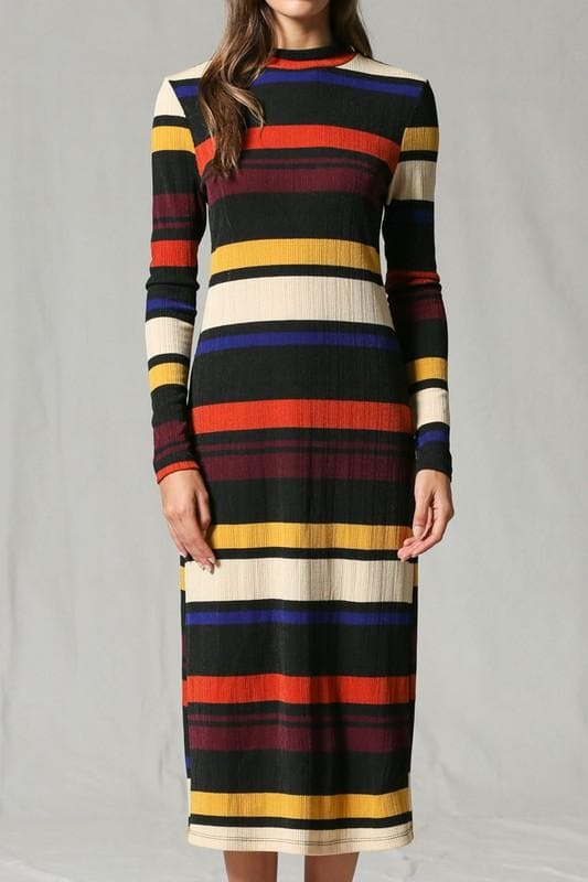 Turtle Neck Striped Midi Dress