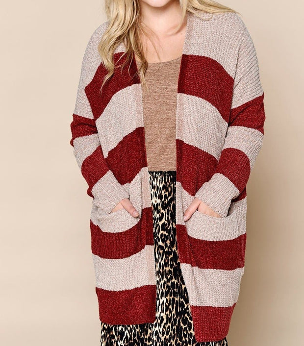Plus Size Striped Open-Front Knit Cardigan