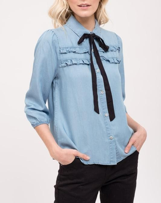 Ribbon Tie Ruffle Chambray Top