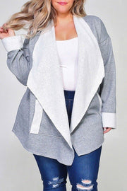 Plus Size French Terry Waterfall Cardigan