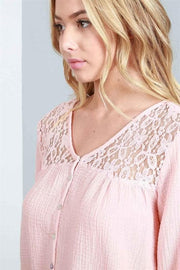 Pol - Bubble Sleeve Pebble Gauze Knit Top