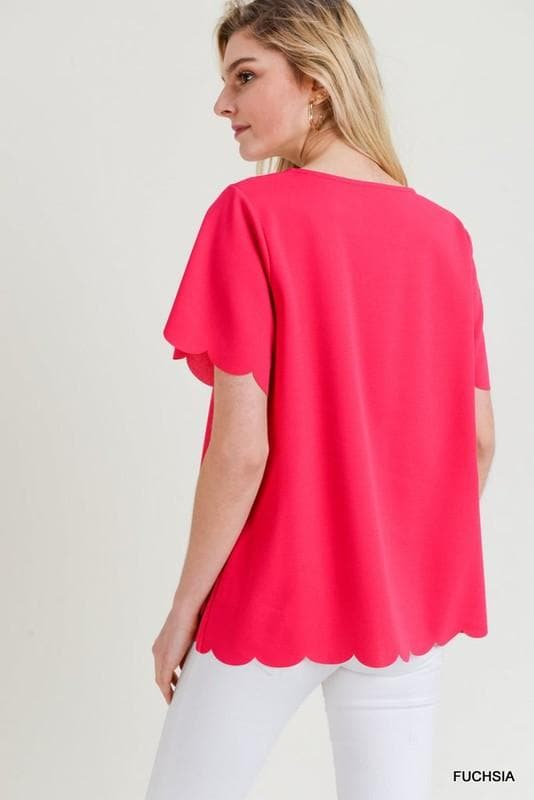 Solid Top with Short Sleeves and Scalloped Hems