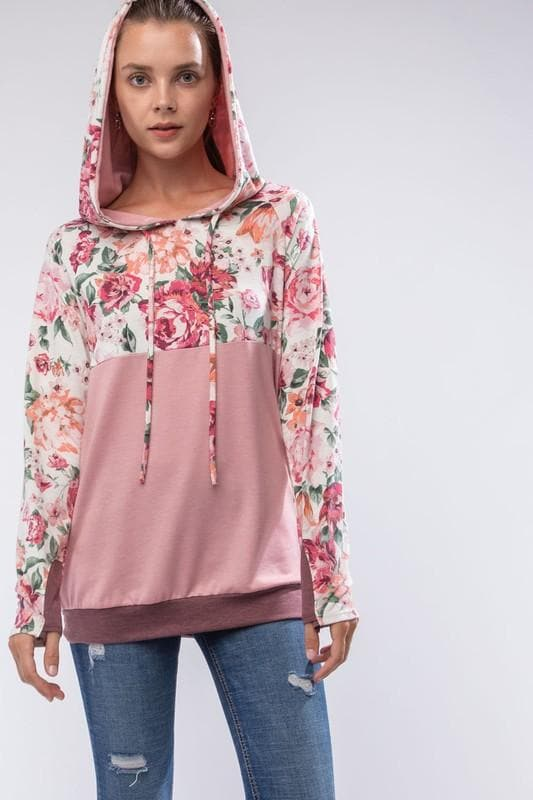 Kids Long Sleeve Floral French Terry Hoodie