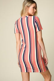 Short Sleeve Vertical Stripe Bodycon Dress