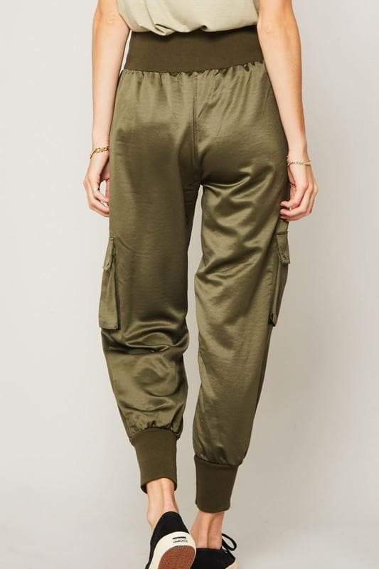 Cargo Jogger Pants with Wide Ribbed Waistband
