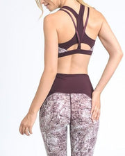 Racerback Sports Bra with Full Front Coverage and Mono Marble Print