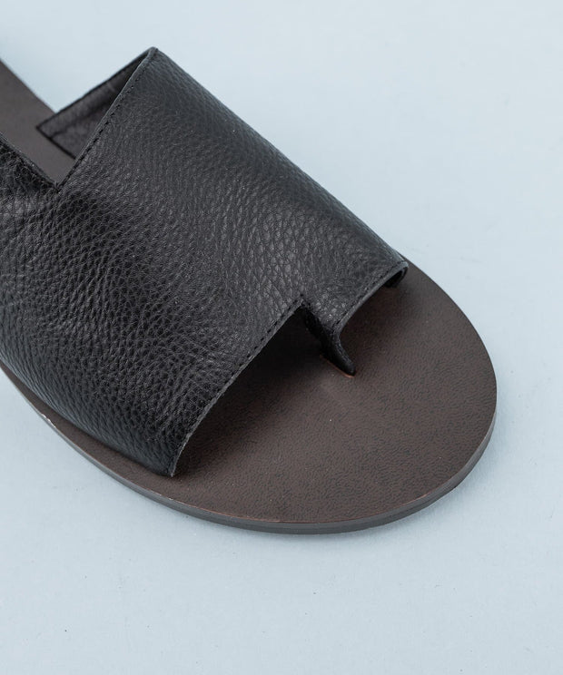 Contemporary Faux Leather Slides
