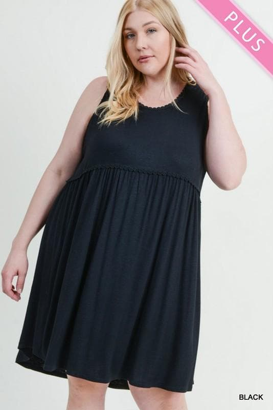 Plus Size Solid Smocked Sleeveless Dress