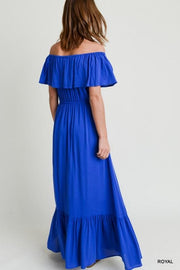 Solid Maxi On/Off Shoulder Ruffle Hem Dress