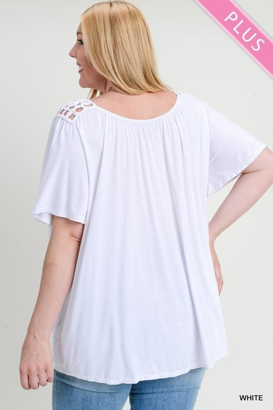 Plus Size Short Bell Sleeve and Lace Yoke Top