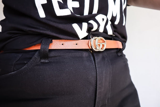 Slim Modern Style Double Ring Buckle Belt