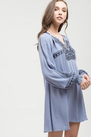 Boho Style Embroidered Long Sleeve Dress