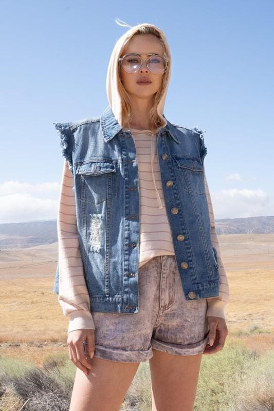 Pol - Distressed Wash Denim Vest