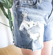 Judy Blue Plus Size Cactus Patch Distressed Shorts