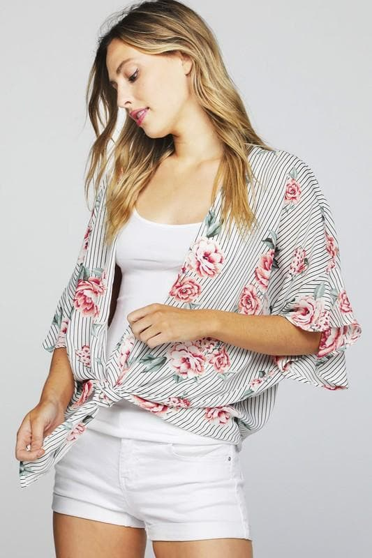 Stripe Floral Dobby Cardigan with Flared Sleeves