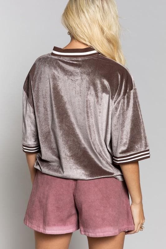 Pol - Velvet Boxy Top with Stripe Hem Details and Front Neck Zip
