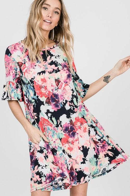 Short Ruffled Sleeve Floral Print Mini Dress with Side Pocket