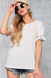 Short Sleeve Knit Top with Ruffled Sleeves and Tassel Trim