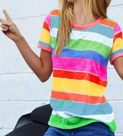 Multi Color Stripe Print Ringer Top