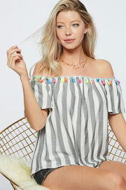 Stripe Woven Off The Shoulder Top
